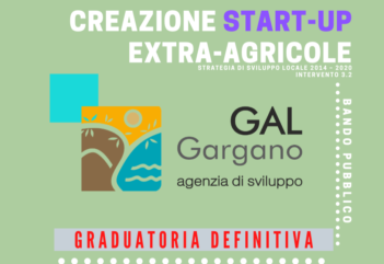 "Intervento 3.2 ""Creazione di start-up extra-agricole"". Approvata la graduatoria definitiva"